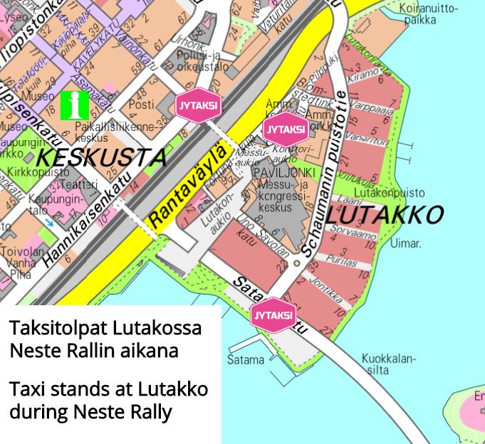 Kartta taksitolpista Lutakossa Neste Rallin aikana