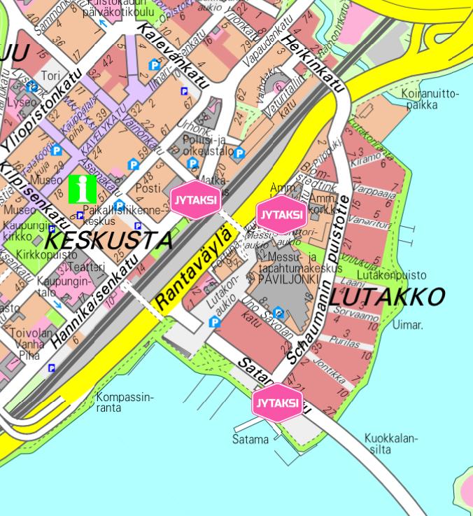 Kartta taksitolpista SuomiPop-festivaaleilla